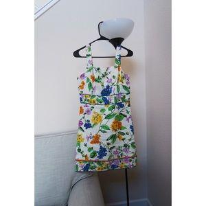 Ann Taylor Floral Cutout Square Neck Sheath Dress